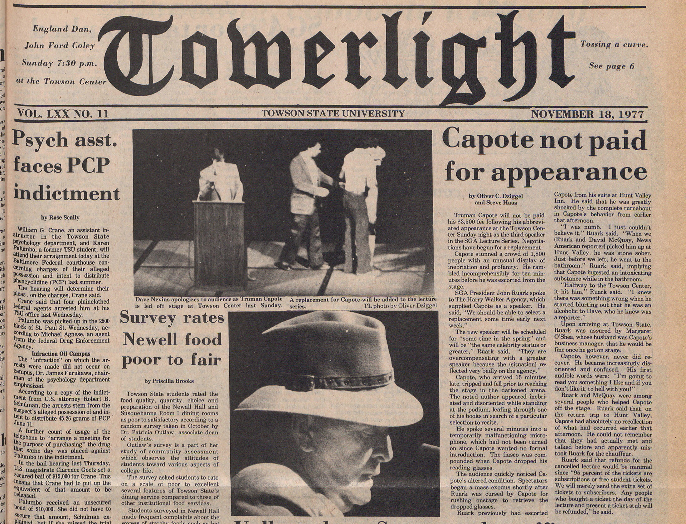 Front of newspaper with photos of Truman Capote being led off stage and reports that he was not paid for his appearance at TSU after arriving incoherent.
