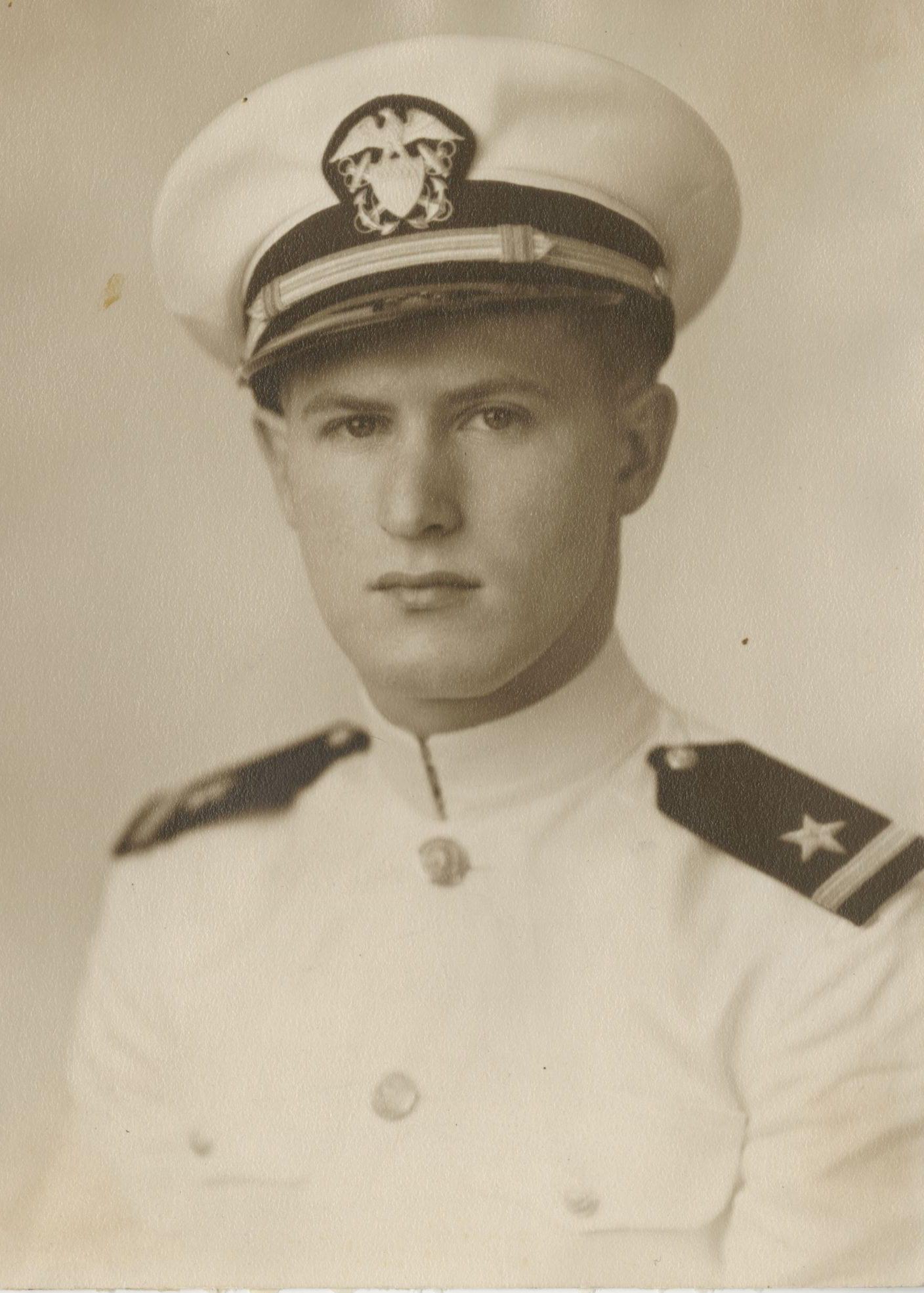 Photo of Henry Astrin in dress naval uniform