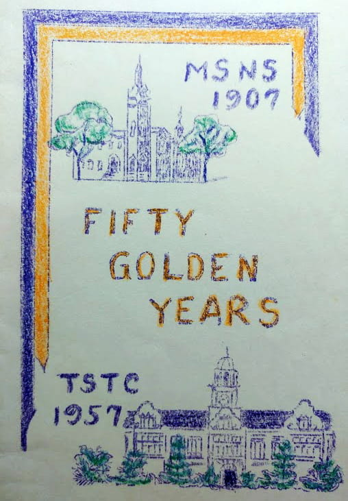 Program shows front of Stephens Hall and the following words: MSNS 1907 Fifty Golden Years TSTC 1957