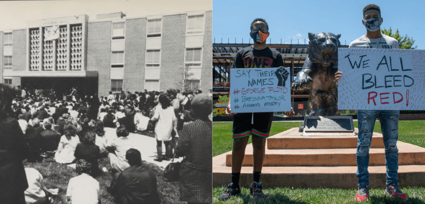 Protesters gathered outside Linthicum Hall listening to speaker in 1970 alongside photo of students supporting BLM in 2020