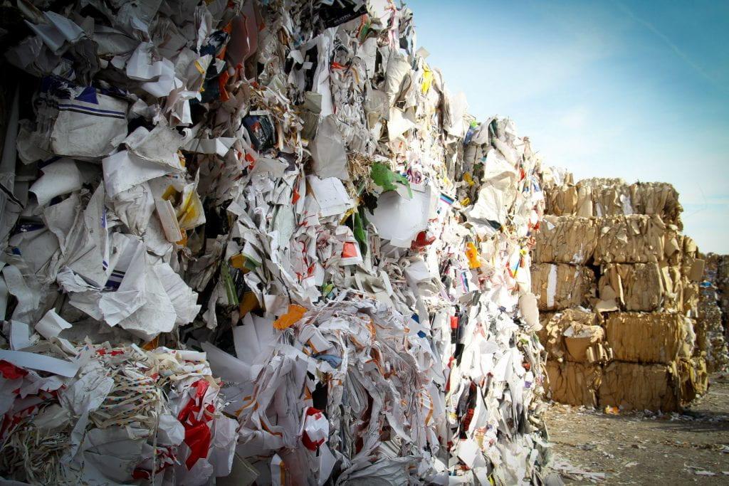 paper garbage piles