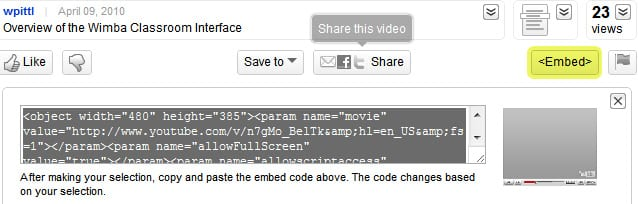 Embed code for a Youtube video