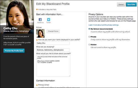 new Blackboard profile tool