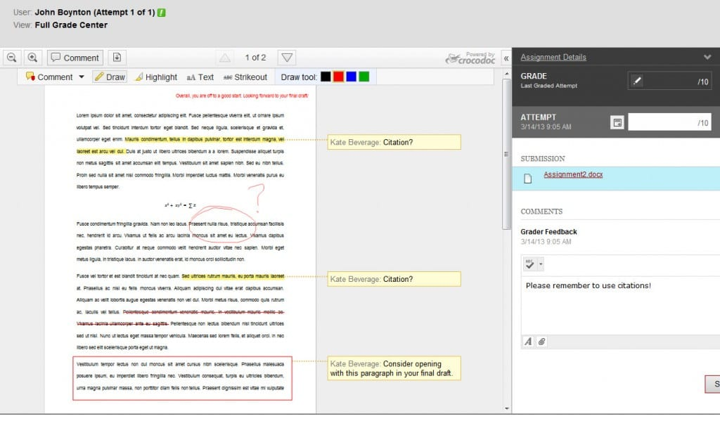 The New Inline Assignment Grading feature snapshot