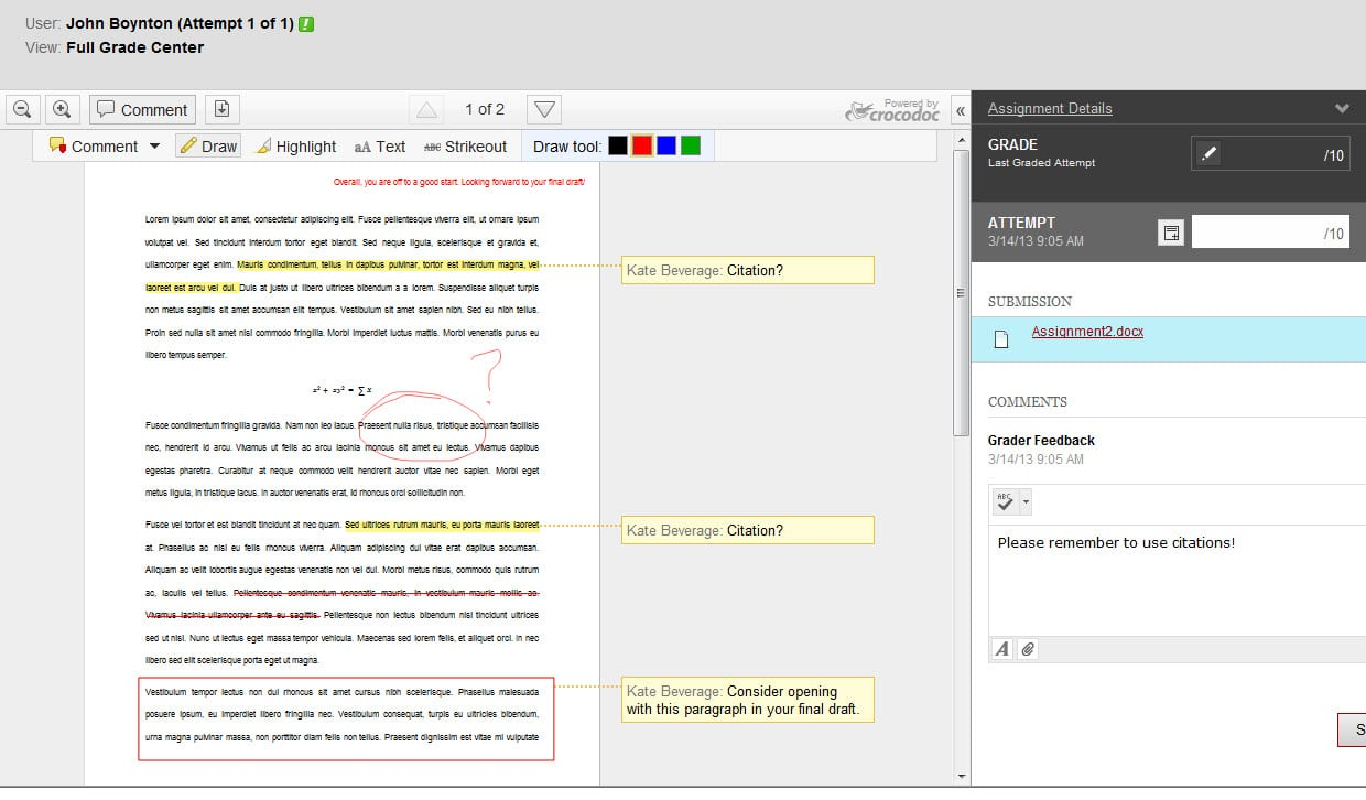Blackboard 9.1 **NEW** Feature Spotlight: Inline Assignment Grading!