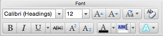 Font ribbon from Microsoft Word