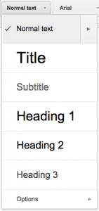 Google Docs Heading Styles