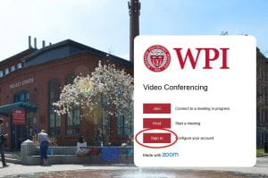 Log in via WPI's Zoom Portal page.