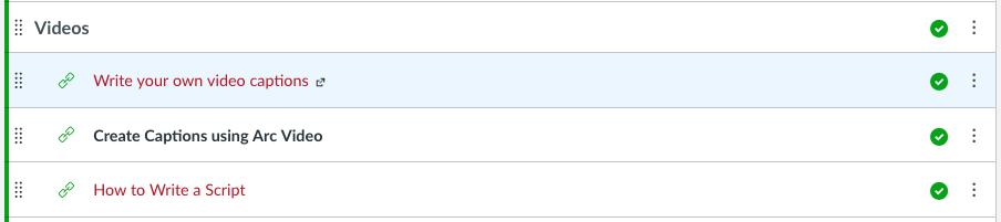 list of links inside a Module