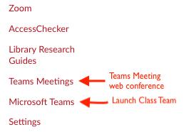 Canvas navigation menu showing teams links