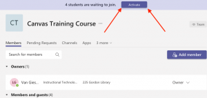 in Teams click activate for student access