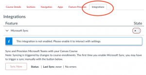 integrations tab in Settings