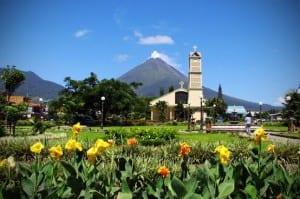 costa rica church and volcano