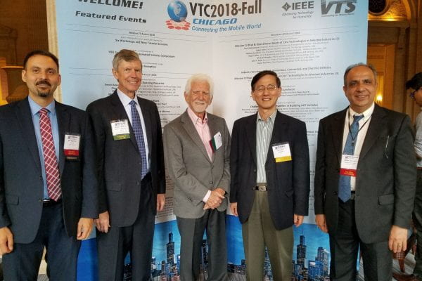[L to R]: Wyglinski (as President of IEEE VTS), Dennis Roberson (IEEE VTC 2018 Fall Chair), Marty Cooper (inventor of the cell phone), Jae Kim (Samsung R&D), Abbas Jamalipour (as IEEE VTS Executive VP)