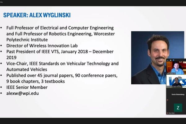 Wyglinski starting off his invited presentation on connected vehicles to IEEE Chicago Chapter on 24 March 2021