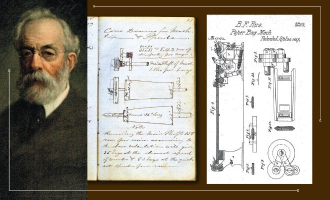 From left, a photo of Charles Hill Morgan, a page with handwritten notes and illustrations, and a page from Morgan's paper bag patent