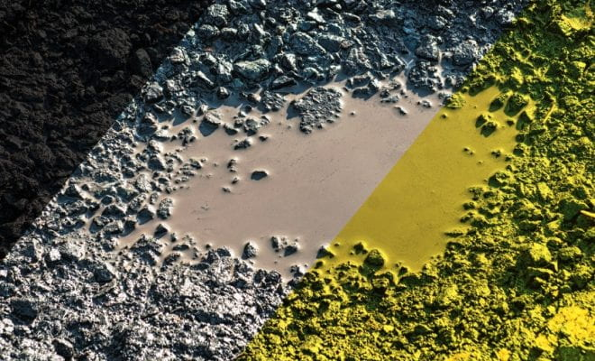 Photograph of a large pothole with black, gray, and yellow diagonal stripes overlaid