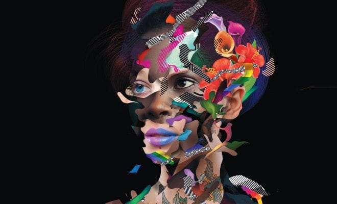 Abstract illustration depicting a woman's face made up of several faces of different colors and abstract patterns.