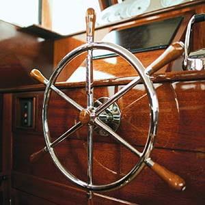 Steering wheel on a boat