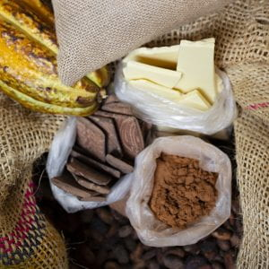 surrounded by burlap bags are plastic bags holding cocoa butter, cocoa nibs, and cocoa powder