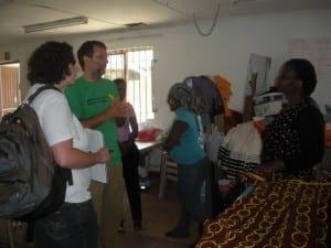 Scott and Jen (left) talk with Nobandla (right)
