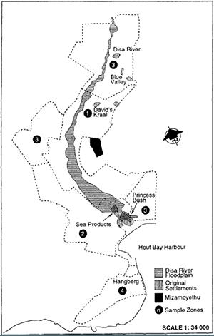 Figure 1: Map of Informal Settlements in Hout Bay (Oelofse & Dodson, 1997)