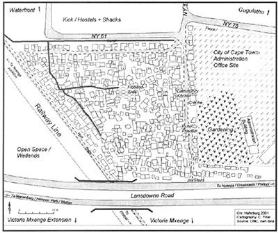Figure 1: Drawn map of Phola Park (Haferburg, 2002)