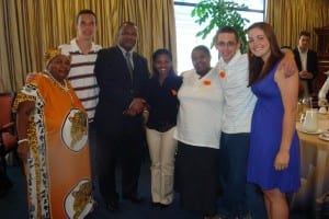 (From left) Shaster Foundation Employee Gugu, Matthew Carey, Mayor of Cape Town Dan Plato, Kealeboga Merafhe, project liason Buyiswa Tonono, Terry Tata, Sarah Johnson