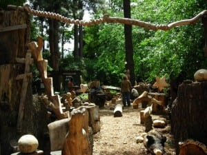 Wood carving area at Montebello