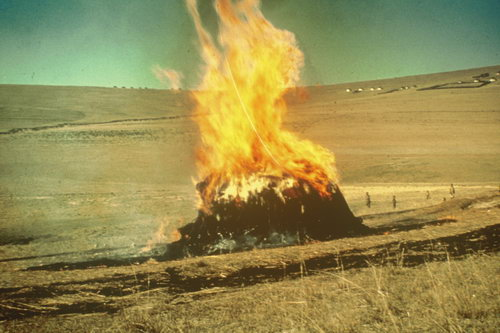 building and burning of initiation huts