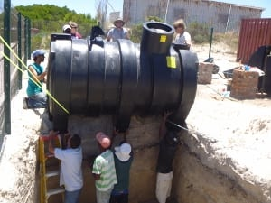 Lowering Tank into Place