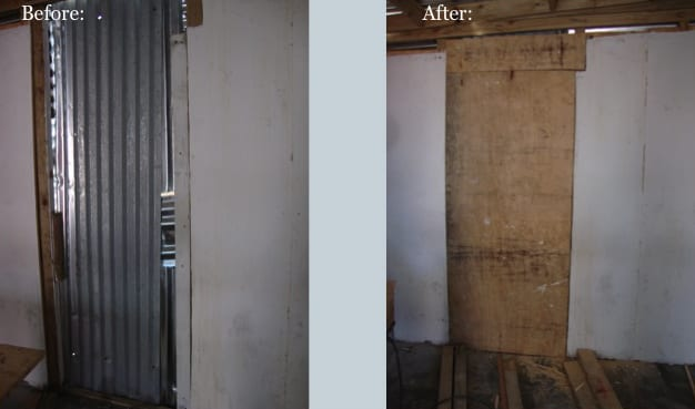 Before and After of Back Wall