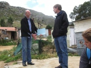 Shaun from Enviroloo markets his product for the first of two possible locations in Zwelithsa