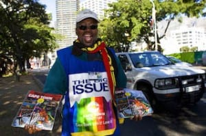 A Big Issue Vendor On His Pitch