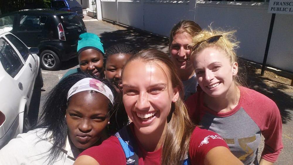 Left to Right, Siyanda, Mama Tandi, Amanda 2, Heather, Mollie, and Danielle
