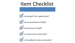 A checklist used by the item to determine what products to purchase for the kiosk