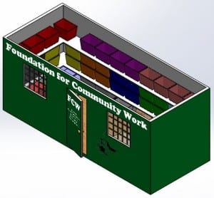 Front View of the CAD Model of the Shipping Container