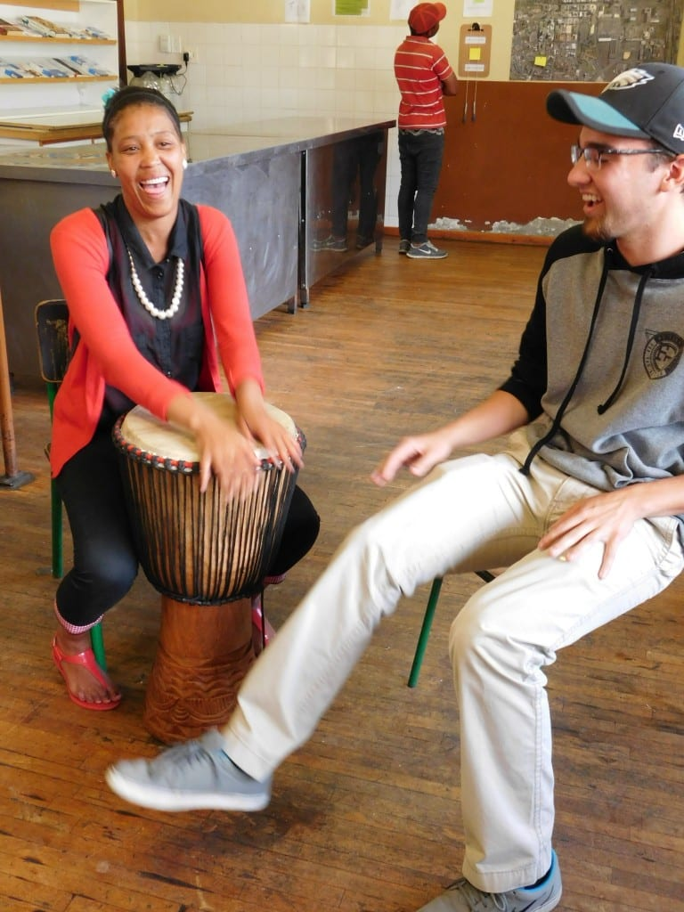 As part of the music programme, Aaron taught how to play basic beats on the djembe.