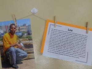 Lee, a Streetscapes participant, has a biography and a professional photograph hanging on the wall in Service Dining Rooms, along with many others.