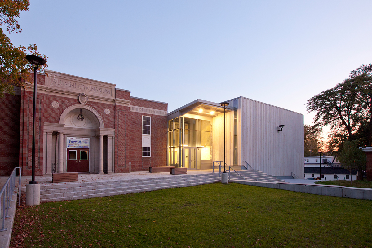 A wide-angled view of the Emery Arts Center from the outside.