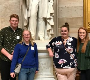 From l to r: Kurt Mason, Rose Miller, Molly Dalton, and Courtney Fowler touring the Capital Building in Washington, D.C. (Photo Courtesy of Courtney Fowler)
