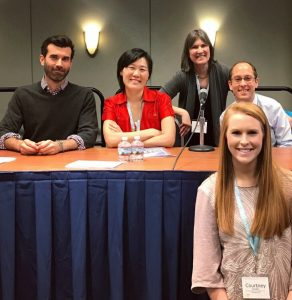Fowler with 2017 AWP Journalism panelists. (Photo courtesy of Courtney Fowler)