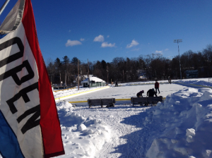 Community Ice Rink at Hippach Field in Farmington, Maine. (Photo by Seth Noonkester)