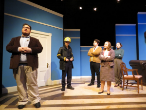 "Cast of ""The Bald Soprano"" from left to right: Keith J. Clark, Jonas Maines, Nate Red, Morgan Steward and Julia Allen. (Photo by Stan Spilecki)"