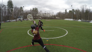 UMF Women's Lacrosse players warm up for their game. (Photo Courtesy of Patty Smith)