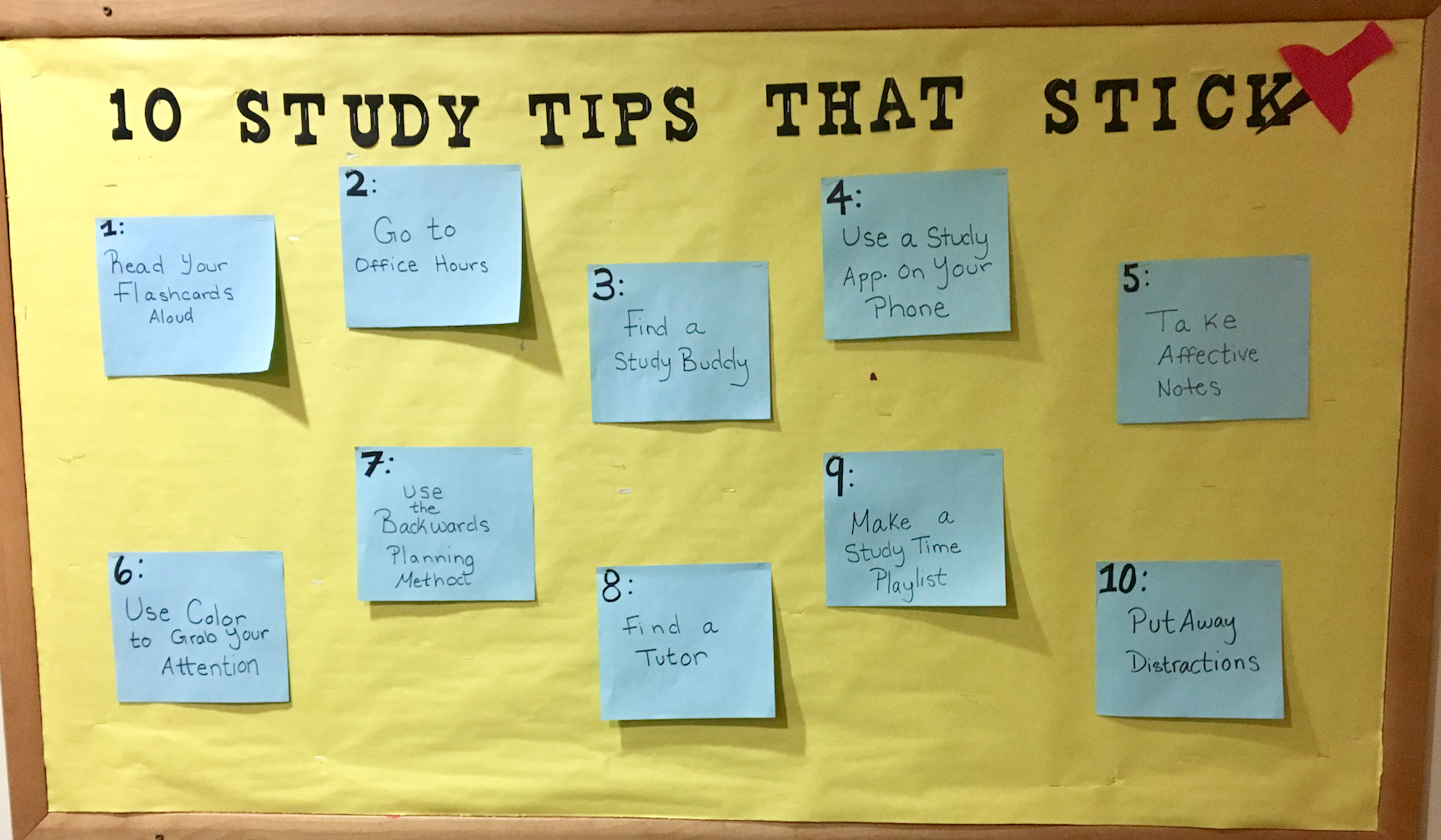 Finals Study Tips Bulletin Board