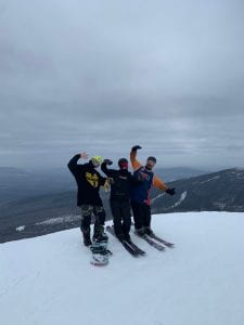 Left to Right: Simon Kern, Ryan Townsend and Sam Scheff skiing and snowboarding at Sugarloaf Mountain. Photo submitted by Abby Pomerleau.