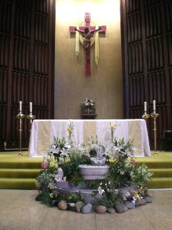Full view altar and cross 4-14-2009