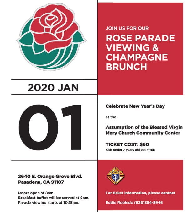 JOIN US FOR OUR ROSE PARADE VIEWING & CHAMPAGNE BRUNCH