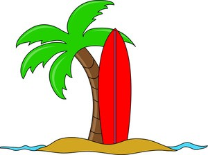 hawaiian-palm-tree-clip-art-surfboard_leaning_up_against_a_palm_tree_on_the_beach_in_hawaii_0515-1011-0223-0542_SMU